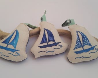 OOAK Hand Painted Fabric Ornaments - Nautical Fabric Ornament - Set of 3 Sailing Boat Ornaments