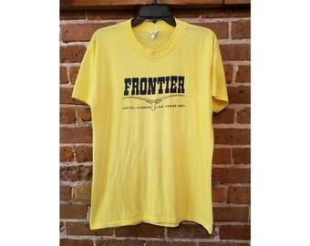 Vintage 80s tee shirt- yellow Frontier Casino tee xl