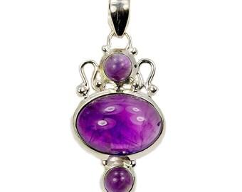 February Birthstone Purple Sonata Amethyst & .925 Sterling Silver Pendant , W340 U657 W726 Amethyst Necklace Silver Chain