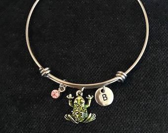 Frog Initial Bangle Frog Initial Bracelet