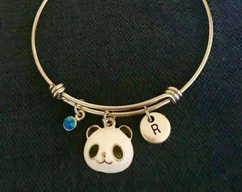 Panda Bear Personalized Bangle Panda Bear Personalized Bracelet Panda Bear