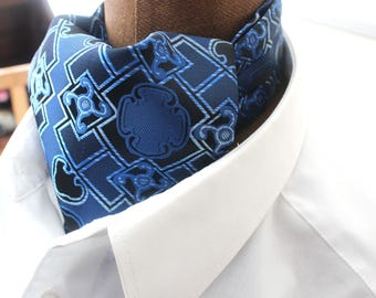 Ascot,men ascot,Ascot tie,Retro,blue