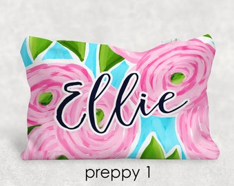 Personalized Preppy Pencil Case - Cosmetic Bag - Personalized Gift