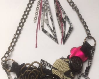 Bib Statement Geometric Necklace and Earrings Set, Black and White animal print, Pink Rose