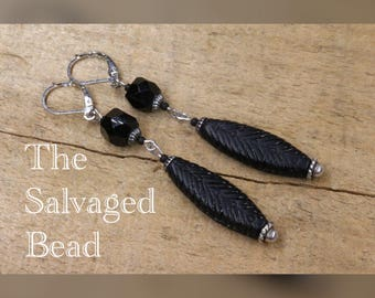 Antique Art Deco Gatsby Matte Black Glass Drop Earrings, circa 1920's by The Salvaged Bead