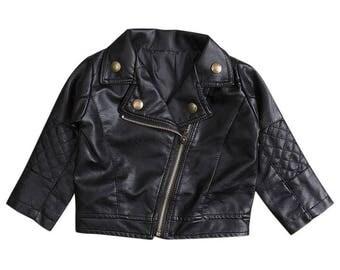Faux Leather Girls Jacket