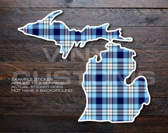 Michigan Plaid Vinyl Decal Sticker A01