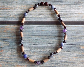 11.5 Inch Digestive System Health Support Baltic Amber, Gemstone, and Hazelwood Necklace Knotted on Silk