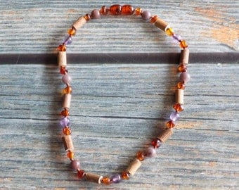 11.75 Inch Lung and Skin Health Support Baltic Amber, Gemstone, and Hazelwood Neckalce Knotted on Silk