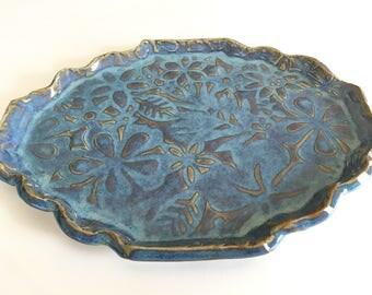 Light Blue Oval Pottery Dish-serving plate-oval Serving platter