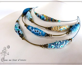 Necklace textile multi-row dyed shades of blue
