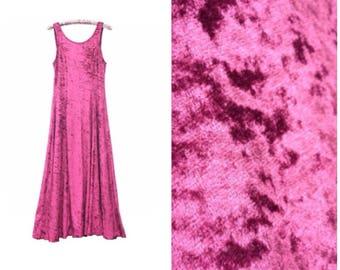 90s Crushed Dress UK 12 Goth Crushed Berry Sleeveless Long Dress New Look Festival