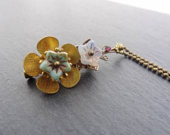 Brass turquoise and pink brooch