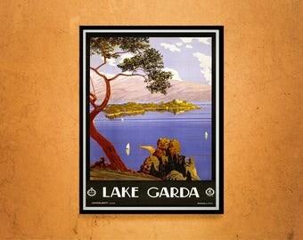 Reprint of an Italian Lake Garda Travel Poster Circa
