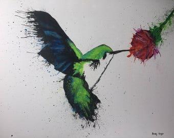 Abstract Splatter Hummingbird Painting