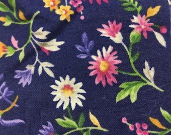 Huge Lot of 100 Vintage Navy Blue Cotton 3 inch Quilt Squares