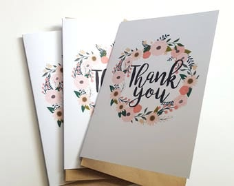 Floral Thank you Card | Floral Wreath | Wedding Thank you Card