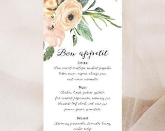 Watercolour Floral Menu Cards x 50 | Wedding Menu | Dinner Party Menu Card | Printed Menu | Blush Pink Wedding