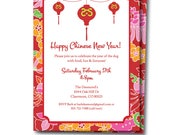 Asian Party Invitation, Chinese New Years Party, Chinese party Invitation, Editable Asian themed Invite, Templett, Instant Download