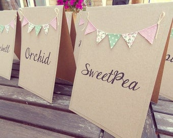 Custom Listing for Andy - On the day stationery. Brown Kraft card with green, blue & pink country cottage bunting