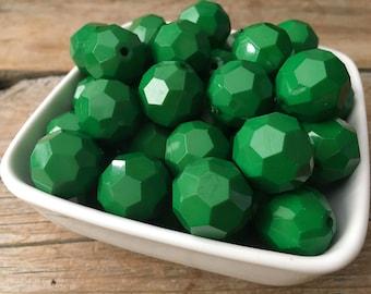 20mm Green Hexagon Chunky Bead, Christmas Bubblegum Bead, Xmas Faceted Acrylic Bead, DIY Chunky Necklace, 10 Count