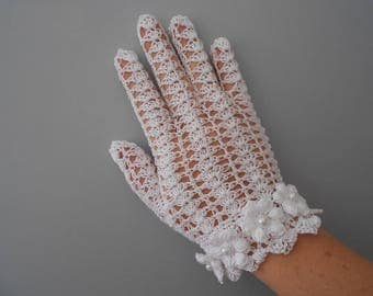 white crochet gloves