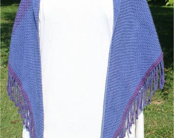Hand Woven Triangle Shawl in Blue and Purple