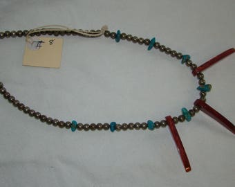 T-8 Native American Necklace, Silver ??, Turquoise stones