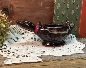 Vintage Redware Pottery Duck Sugar Bowl/Wire Handle/ Made in Japan/Planter