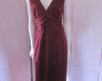 KAY UNGER Deep Burgundy Silk Sleeveless Sheath, Size 14