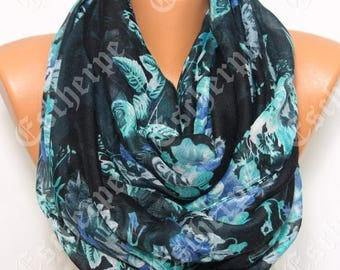 NEW Black Blue Floral Scarf Women's Fashion Winter Accessories Christmas Gift For Her Gift Ideas Women Scarves Holiday Gift Ideas