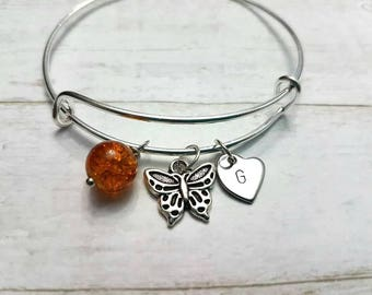 Personalized Initial Charm Bracelet,Butterfly Charm Bracelet,Silver Charm Bangle, Sister's Charm Bangle, Girls Gift, Wifes Gift