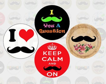 (R0004) Set of images, digital cabochons small mustache circle 30 mm / 25mm / 20mm / 18mm / 16mm / 15mm / 14mm / 12mm / 10mm / 8mm