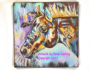 RENEE DARLING Colorful Commanche Equine War Pony Horse Acrylic Abstract Painting Art Decor 24 x 24 Signed Original Canvas