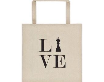 Tote bag - Live Love Chess Black King Tote Bag