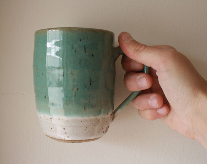 Coffee Mug - White & Teal - KJ Pottery