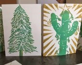 Christmas Card 10-pack w 2 Designs: fir tree & cactus