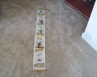 Vintage Needlepoint Tapestry Length Hanging of Windmills