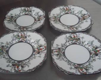 4 Vintage Melba Bone China Oriental Garden Chintz Side Sandwich Cake Plates