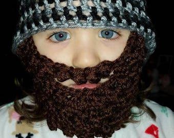 Crochet hat with beard