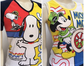 Vintage Snoopy Tshirt and Mickey Mouse Singlet Tank XS-S