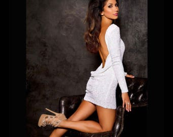 White sequin classic backless dress