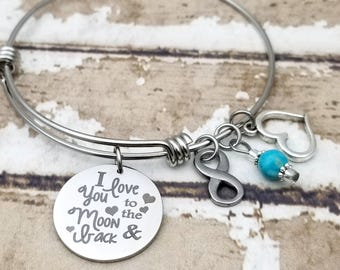 Moon and Back Expandable Bangle Charm Bracelet, love you to the moon, love you to infinity, children stories