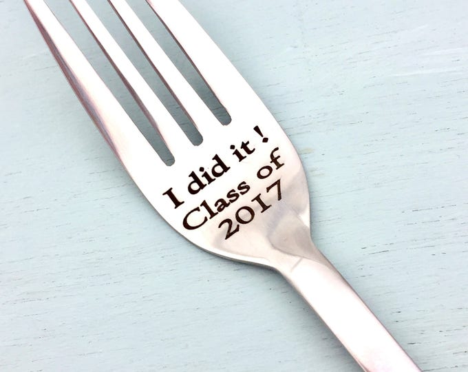 Graduation Fork - Customizable with College Name and Year