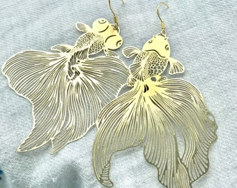 Hollowed Out Fish Earrings-Gold Plated S925 Silver Hooks