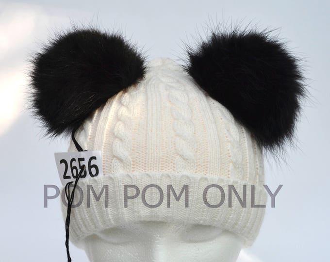 "4,5"" FOX FUR Pom Poms- PAIR! Double Pom Poms, Fox Pom Pom, Fur Ears, Genuine Fur, Handmade Pom Pom, Fur Pom Pom Hat, Beanie, Knitted Hat"