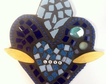 Love Mixed Media Mosaic Sacred Heart With Wings: Blue Garden Art & Whimsical Home Decor