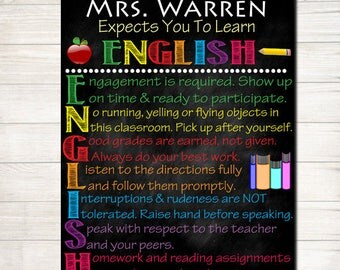 Custom ENGLISH Classroom Poster,  English Classroom Decor, Classroom Rules Poster, High School English Teacher, English Teacher Gifts