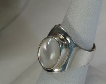 Sterling Mother of Pearl Adjustable Band Ring