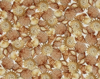 Seashell Fabric by the Yard, Quiltng, Novelty, Cotton, Cream, Shells, Small Print, Brown, Beach, Sea, Ocean, Nautical, Cottage, Decor